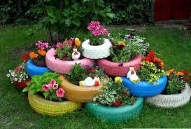 old car tire flower pots