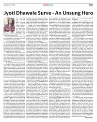 jyoti dhawale surve an unsung hero food for thought is the my article on jyoti dhawale surve an unsung hero published in the 2016 addition of bandra buzz