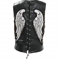 add to my lists diamond plate womens silver angel wing patch leather biker vest