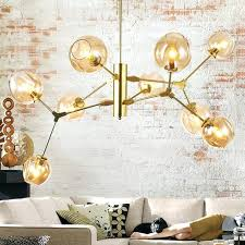 modern gold chandelier branching bubble pendant chandeliers clear smoke amber glass shade 9 heads black gold