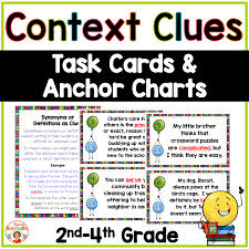 Context Clues Anchor Chart Context Clues Task Cards And Anchor Charts For 2nd 4th Grade