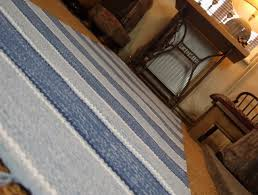 blue and white striped rugs