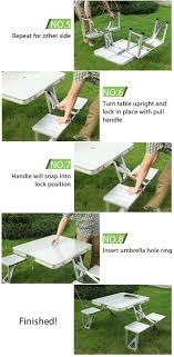 aluminium portable folding picnic table chairs set with umbrella. foldable portable picnic table w/ four seats aluminium folding chairs set with umbrella