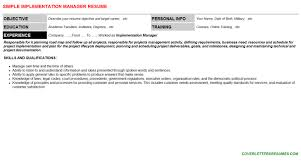 Implementation Manager Resume Cover Letter Cv Letters Resumes