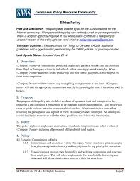 business policy example 7 business code of ethics policy templates free premium templates