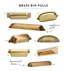 brass cup pulls. i love these brass pin pulls. adds glam to any drawer. cup pulls
