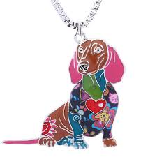 whole novelty dachshund gifts necklace for women personalized dog pets pendants jewelry can be used as car keychain pearl jewelry chunky