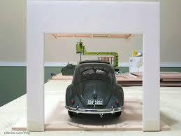 1950 vw beetle through the garage door