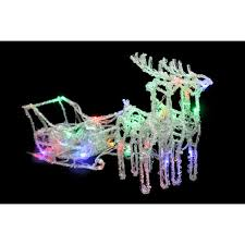 table decorations noma battery operated 35 multi colour led reindeer and sleigh indoor animated to enlarge