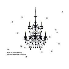decalmile black chandelier wall decals vinyl wall art home decor removable wall stickers for living room bedroom
