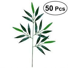 OULII 50pcs Artificial Green Bamboo Leaves Fake ... - Amazon.com