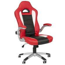 office bucket chair. Executive Office Chair PU Leather Racing Style Bucket Desk Seat - Red