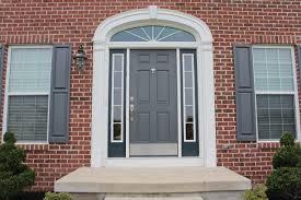 front door installationExterior Grey Wooden Six Panel Entry Door With Double Side Light