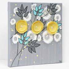 side view of small wall art gray yellow flowers