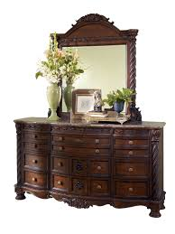piece legacy classic renaissance upholstered panel bedroom: north shore traditional dark brown wood glass dresser and mirror