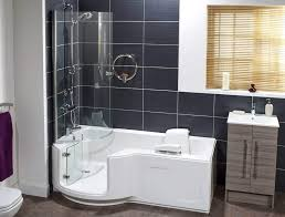 A modern P-shaped bath with door, combining the pleasure of bathing with  the practicality of showering.