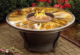 Patio Store 48 X 24 Inch Moonlight Round Gas Firepit Table With Tempered Fiberglass Top Burner System Weather Fabric Cover And Aluminum Frame Antique Bronze