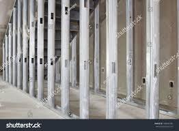 metal studs framing. metal stud framing under the steel staircase in commercial space studs