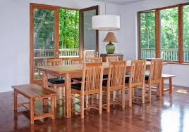 floor seating dining table. Long Dining Table Mission Style Room Set With Wooden Bench Seat And 8 Chairs Black Leather Seats White Hanging Lamp Plus Hardwood Floor Seating R