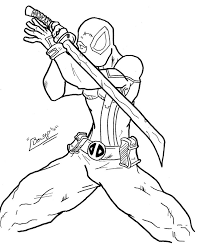 Small Picture Coloring Pages of Deadpool Gaming and Super Heroes Pinterest