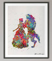 original watercolor beauty and the beast poster print pictures nursery wall art canvas painting kid room
