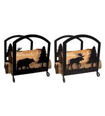 bear moose fireplace log rack wood racks storage