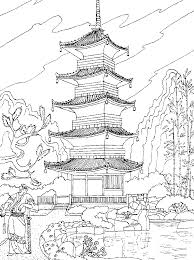 Free Coloring Page Coloring Adult Chinese Temple A Chinese Temple Free Coloring Pages Print City Scene Coloring Page L