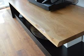 live edge tv stand. Wonderful Stand Designer Tv Unit Custom Made Black Lacquered With Live Edge Oak For Live Edge Tv Stand