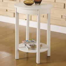 diy simple round wood bedside table with bookshelf and storage painted with white color and high legs ideas