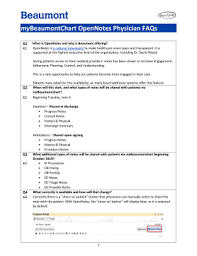 Fillable Online Mybeaumontchart Opennotes Physician Faqs Fax
