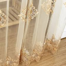 luxury embroidered sheer voile curtains window ds cortina for living room door gold lace curtains tulle windows rideaux 50 in curtains from home
