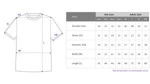 Product Size Chart Blavk Singapores Label Blavk Sizes