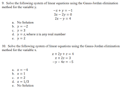 solve the following system of linear equations using the gauss jordan elimination method