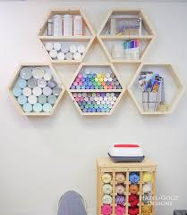 diy hexagon shelf for craft storage finished straight on