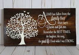 a limb has fallen from the family tree bereavement plaque