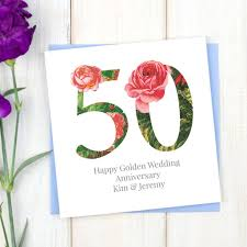 Personalised Golden 50th Wedding Anniversary Card By Chi Chi Moi
