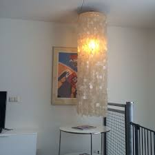 large vintage mother of pearl shell pendant lamp