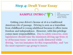 language arts writing sol how to writing prompts ppt step 4 draft your essay sample intro i getting your driver s license at