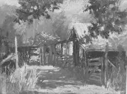 tweaking a plein air painting in the studio and here it is in black and