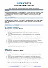 Lab Technician Resume Samples Qwikresume