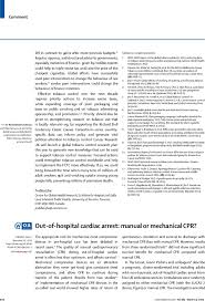 out of hospital cardiac arrest manual or mechanical cpr the lancet first page of article