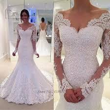 Designer Bridal Gowns With Sleeves Designer Vintage Long Sleeve Lace Wedding Dress 2017 Beading Backless Bride Dresses Mermaid Wedding Gowns Winter Robe De Mariage
