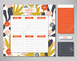Design Schedule Template Weekly Planner With Modern Floral Elements Schedule Design Template