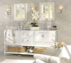 pottery barn bathrooms ideas. Wonderful Elegant Pottery Barn Bathroom Design Ideas Plus Vanity Mirror And Marble Wall As Well Twins Hamper Also Candle Holder Chrome Faucet Bathrooms
