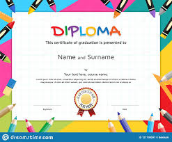 Pre K Graduation Certificate Kids Diploma Or Certificate Template With Painting Stuff