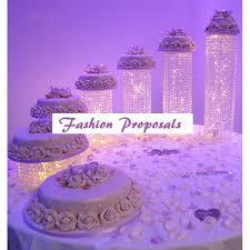 n crystal wedding cake stand pendants metal chandelier waterfall 6 tiers weddi