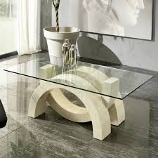 contemporary living room table in stone and glass austin