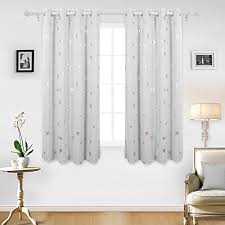 Deconovo Stars Foil Printed Thermal Insulated Ready Made Curtains Eyelet  Blackout For Bedroom 46 X 54 Inch Greyish White One Pair Amazon UK