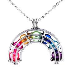 details about k408 silver 36mm rainbow pearl cage necklace rainbow locket 7x beads as inner