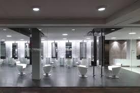 Modern Design Hair Salon Wooden Counters With Mirrors In Modern Hair Salon Interior